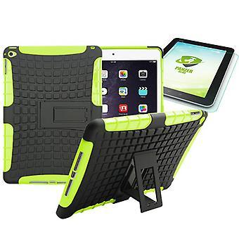 Hybrid utendørs beskyttende deksel grønt for iPad-kollisjonsputen 2 + 0,4 H9 herdet glass