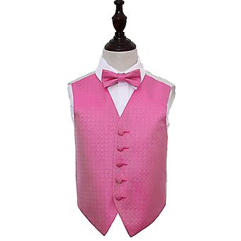 Fuchsia Pink Greek Key Wedding Waistcoat & Bow Tie Set for Boys