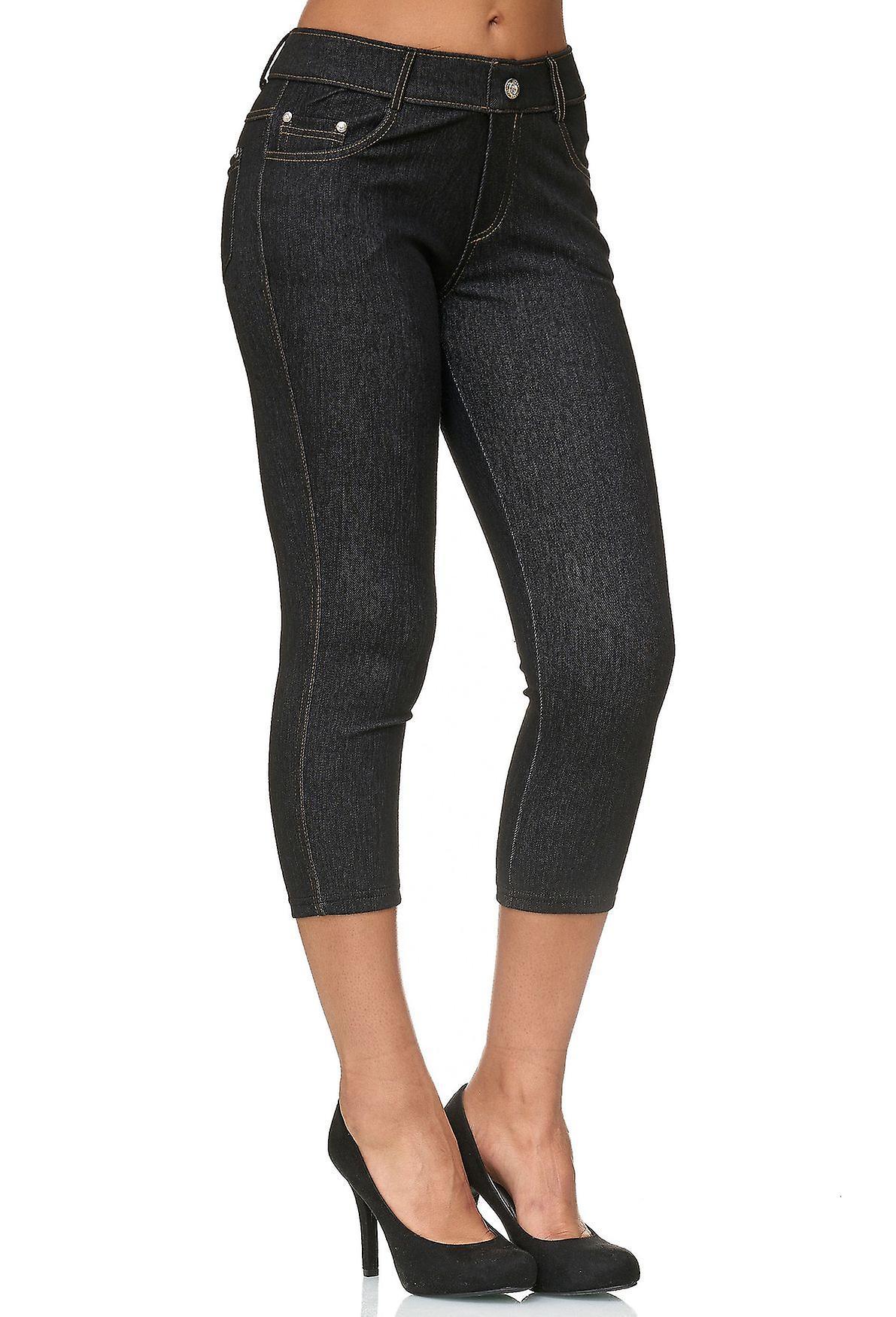 Damen Capri Hose Skinny Jeggings Hüfthose Jeans Treggings Strassstein Push Up