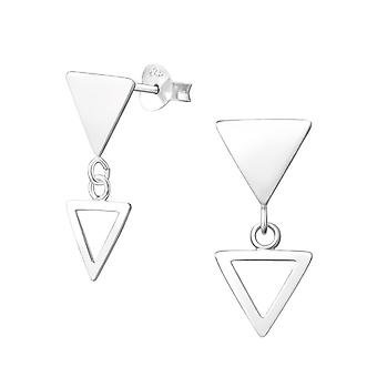 Hanging Triangle - 925 Sterling Silver Plain Ear Studs - W37756X
