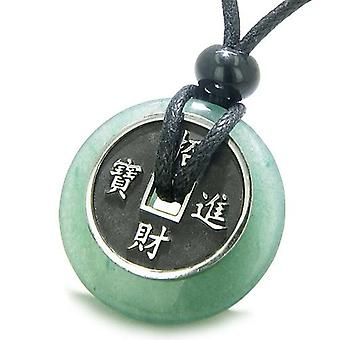 Amulet heldig Coin sjarm Donut grønne Aventurine lykke Antiqued anheng halskjede