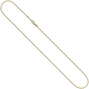 333 chain Yellow Gold Diamond 1.6 mm 42 cm gold chain necklace carabiner