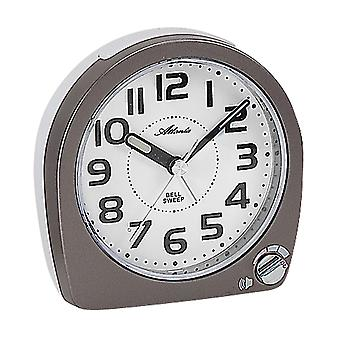 Atlanta 1738/4 alarm clock quartz anthracite white silent without ticking with light Snooze