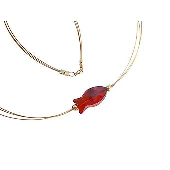 Necklace necklace fish red MORRONA with Crystal element gold plated
