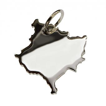 Trailer map KOSOVO pendant in solid 925 Silver