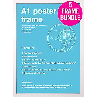 GB Posters 5 White A1 Poster Frames 59.4 x 84.1cm Bundle