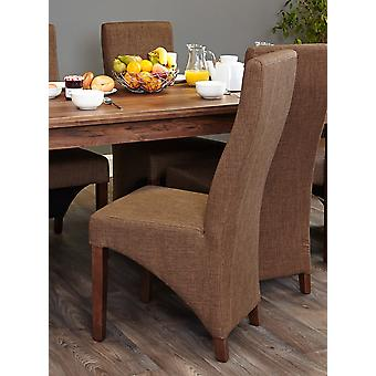 Walnut Full Back Upholstered Dining Chair - Hazelnut (Pack of Two) - Baumhaus