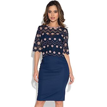 Paper Dolls Navy and Blush Crochet Top Dress