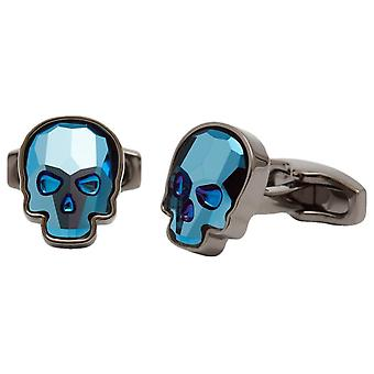 Simon Carter Swarovski Crystal Skull Cufflinks - Blue/Gunmetal Grey