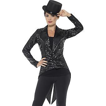 Sequin Tailcoat jakke, damer, svart