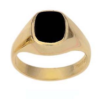 9ct Gold Onyx set Kissen Siegelring Größe J