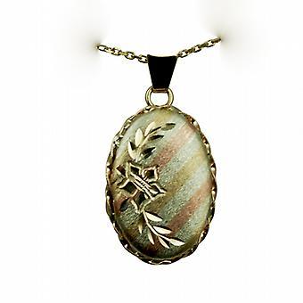 9ct 3 цвет золото 23x16mm огранки овал медальон с кабель цепи 16 дюймов, подходит только для детей