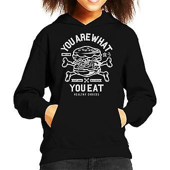 Du bist was du isst Burger und gekreuzten Knochen Kid der Kapuzen-Sweatshirt