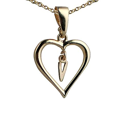 9ct Gold 18x18mm initial V in a heart Pendant with a cable Chain 16 inches Only Suitable for Children