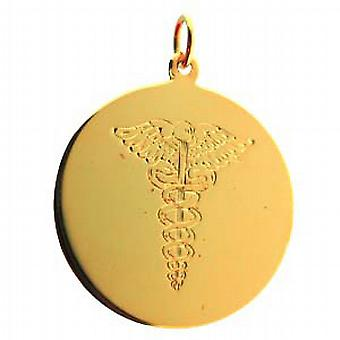 18ct Gold 26mm round hand engraved Medical Alarm Disc