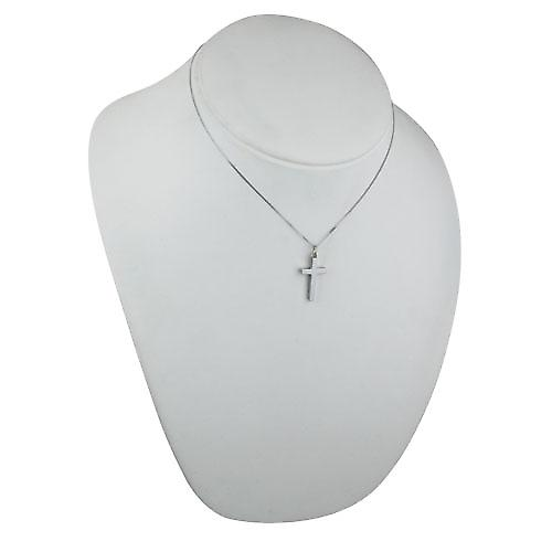 9ct White Gold 25x15mm plain solid block Cross with a curb Chain 16 inches Only Suitable for Children