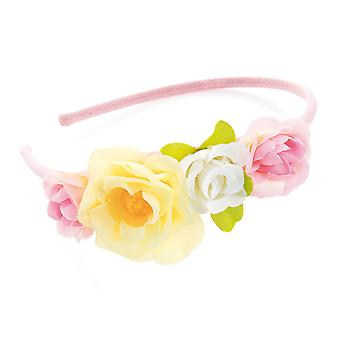 Girl's Pastel Tone Pink White & Yellow Flower Design Headband