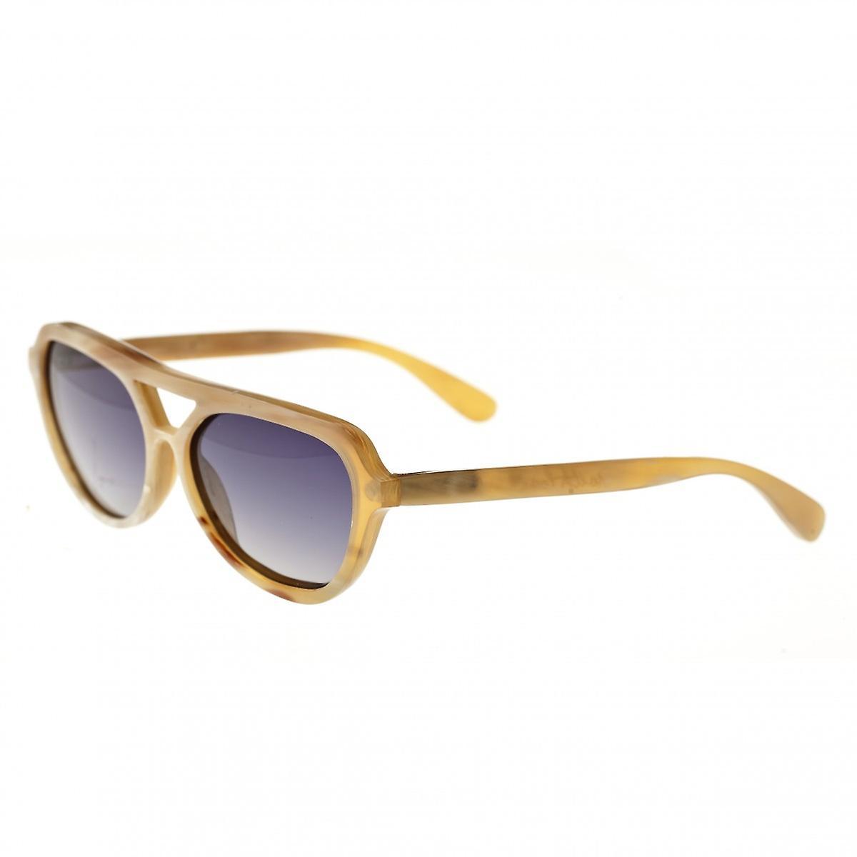 Bertha Bretagne-corne de buffle Polarized lunettes de soleil - vanille noir