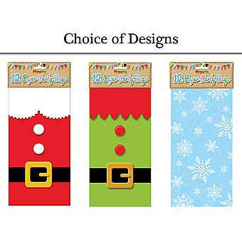 12 Christmas Paper Party Bags - Choice of Designs
