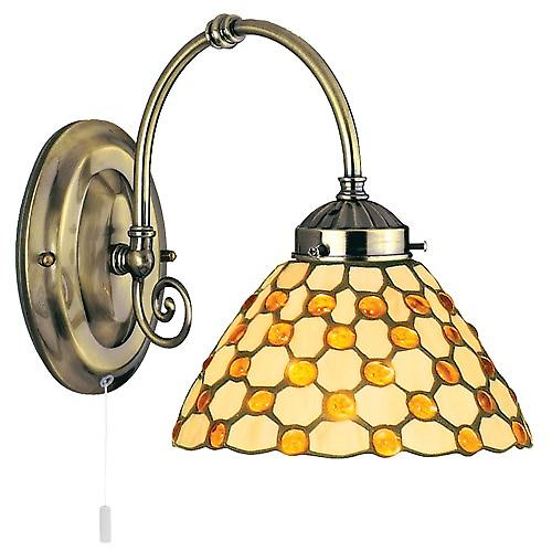 Searchlight 3141-1BR Tiffany Switched Wall Light Tiffany cream Glass Brown Drops