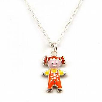 Toc Sterling Silver Kids Little Girl Orange Enamel Pendant on 16 Inch Chain