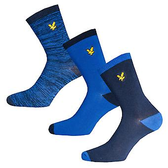 Boys Lyle And Scott Marl Mix 3 Pair Socks In Navy- 2 Pairs Plain Design, 1 Pair