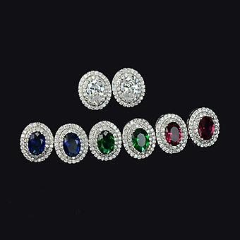 18K White Gold Plated Micro Cubic Zirconia Stud Earrings, 1.2cm