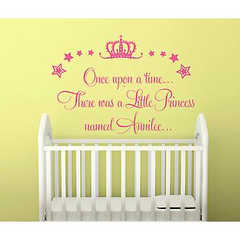 Personalised Once Upon A Time Princess Wall Sticker Girls Bedroom Kids Decal Princesses Magical Theme