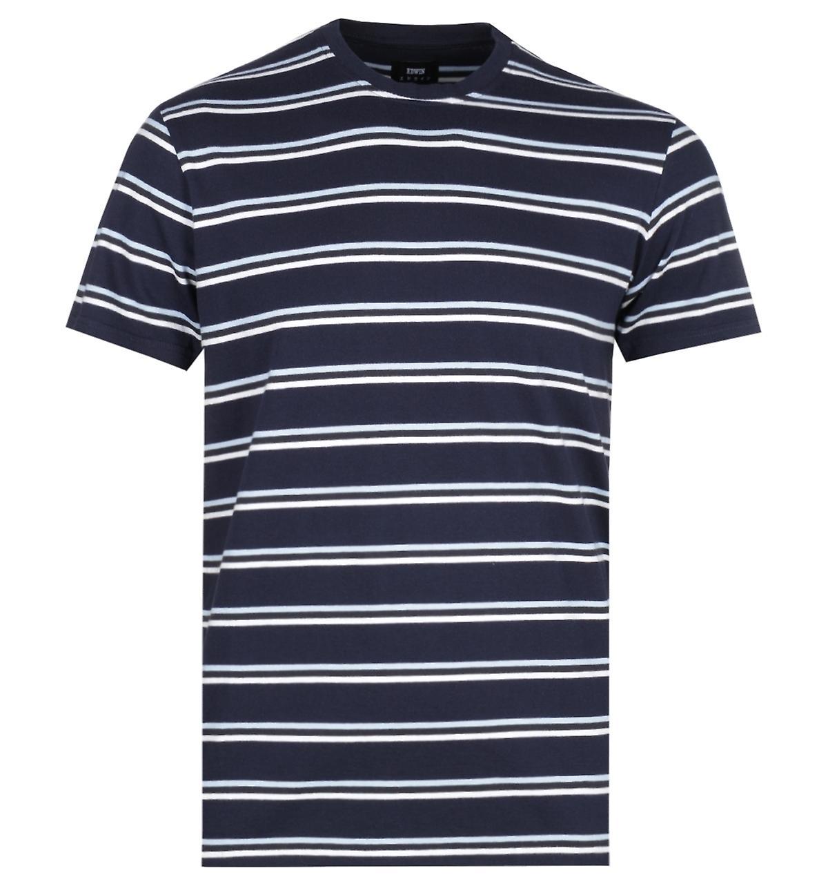 Edwin West Stripes Navy T-Shirt