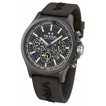 TW Steel Mens VR46 Black IP Steel Black Rubber Strap Chrono TW935 Watch