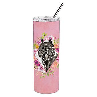 Bouvier des Flandres Pink Flowers Double Walled Stainless Steel 20 oz Skinny Tum