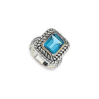 925 Sterling Silver Antique finish With 14k 9.93Swiss Blue Topaz Ring - Ring Size: 6 to 8