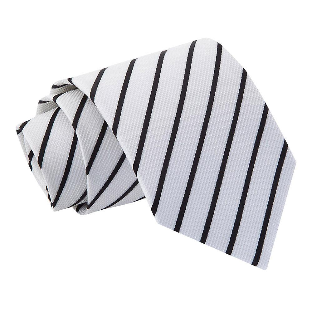 White & Black Single Stripe Tie