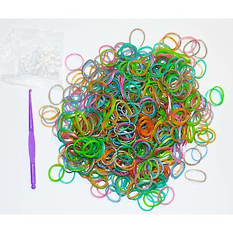 600 NEON COLOUR LOOM BANDS LOOM CRAZY WITH S CLIPS AND HOOK