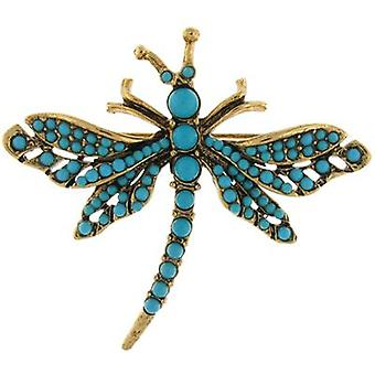 Kenneth Jay Lane Antique Gold Plated & Turquoise Stone Dragonfly Brooch