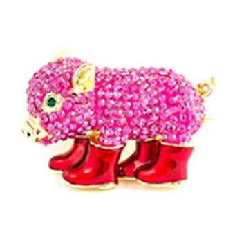 Butler & Wilson Crystal Piglet Wearing Boots Brooch