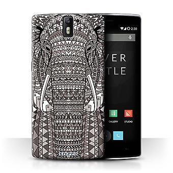 STUFF4 Case/Cover voor OnePlus One/olifant-Mono/Azteekse dier