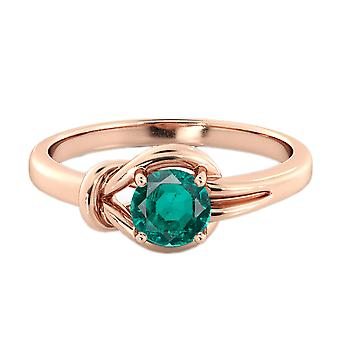 0.50 CT Emerald Ring 14K Rose Gold Knot  4 prongs Round