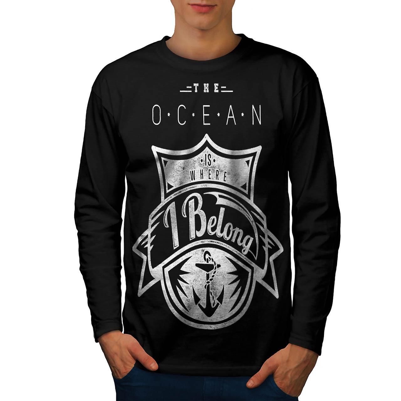 The Ocean Belong Vintage Men Black Long Sleeve T-shirt | Wellcoda