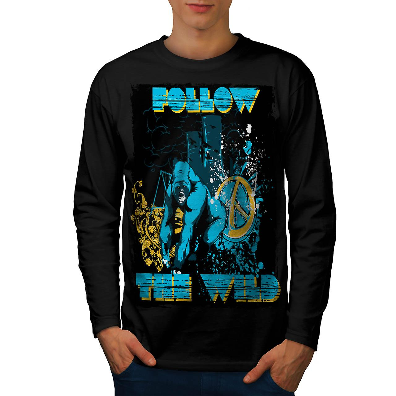 Follow the Wild Chimp Wilderness Men Black Long Sleeve T-shirt | Wellcoda