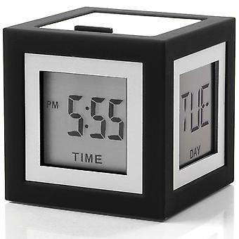 Lexon Cubissimo Dark Grey Digital Bedside Alarm Clock