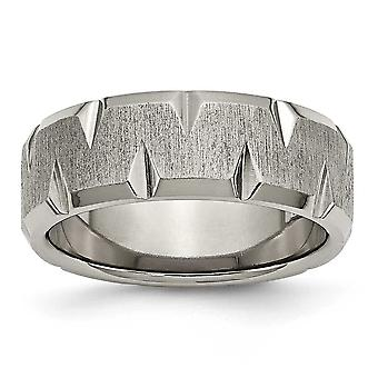 Titan Schlossdrücker abgeschrägte Kante eingekerbt 8mm gebürstet Bandring - Ring-Größe: 7 bis 13