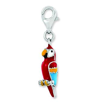 Sterling Silver Rhodium-plated 3-d Enameled Parrot With Lobster Clasp Charm - 2.3 Grams