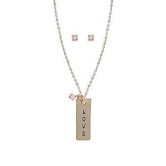 Collana di oro & rosa Live Laugh Love & pietra orecchini Set