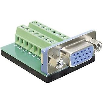 VGA connector Socket, vertical vertical Number of pins: 16 Silver Delock 65170 1 pc(s)