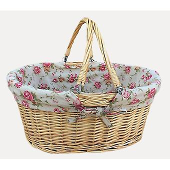 Medium Swing Handle Shopping Basket With Rose Lining