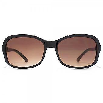 Carvela Small Rectangle Sunglasses In Black On Crystal Brown