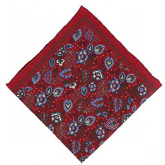 Michelsons of London Garden Floral Silk Pocket Square - Red