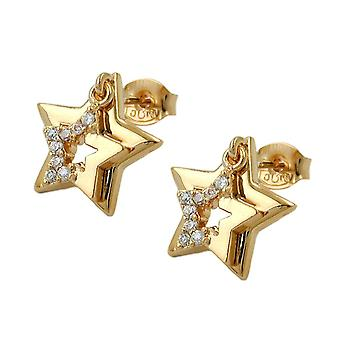 Ear plug star earrings gold plated connector star double gold plated 3 Micron