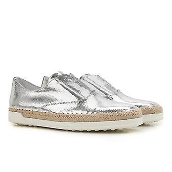 Tod's women's silver metallic leather slipon sneakers